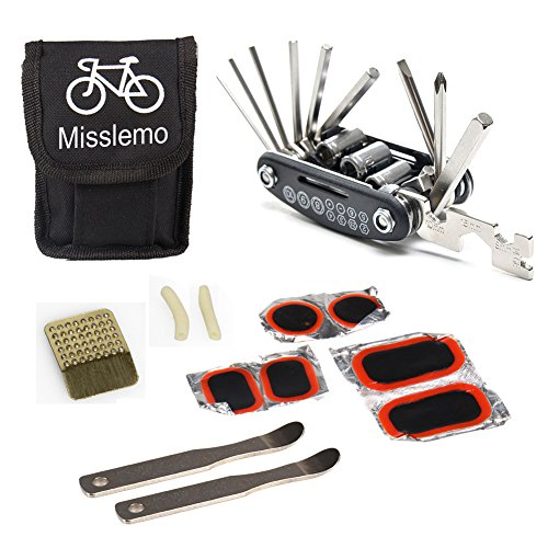 Bike Repair Tool, Misslemo 16 in 1 Multi-Function Bicycle Mechanic Repair & Maintenance Tool Kit with Portable and Compact Screwdriver Nut Driver Patch Kit, Tire Levers Bicycle Fixie Cycling Repair Tools for Any Emergency During your Cycling (Fixie Bike Repair Kit compare prices)