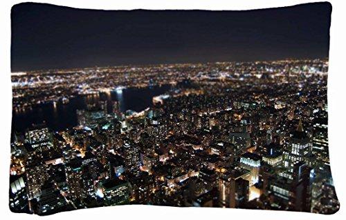 Microfiber Peach Queen Size Decorative Pillowcase -City Lights New York Night front-986575