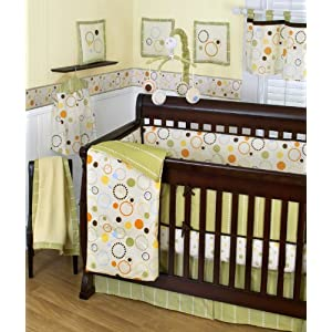 Sumersault Pop Dot 10 Piece Crib Set, Tan/Green/Orange