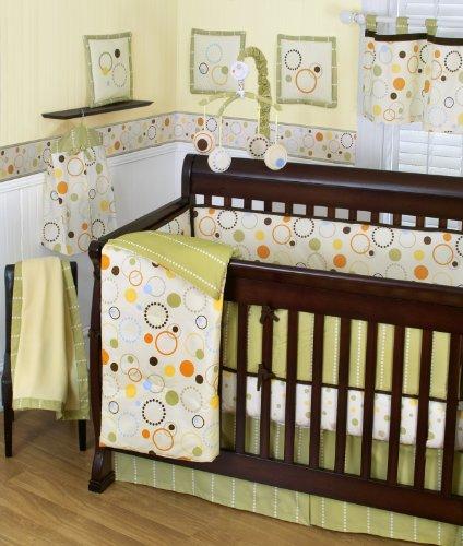 Sumersault Pop Dot 10 Piece Crib Set, Tan/Green/Orange