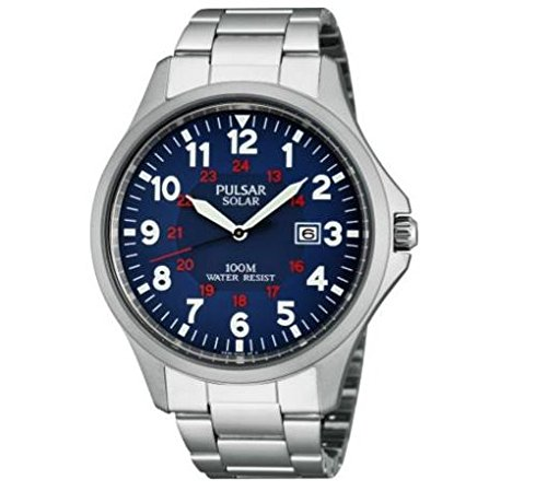 Pulsar Men's Solar Powered Arabic Dial Watch With Blue Easy To Read Dial