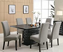 Hot Sale Stanton Contemporary 7-Pc Black and Gray Dining Table Set by Coaster