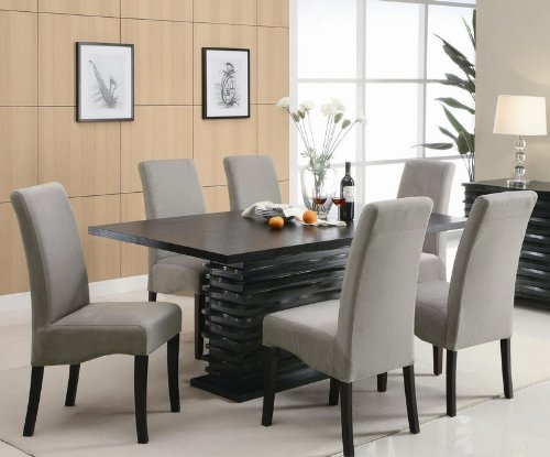 buy cheap stanton contemporary 7 pc black and gray dining table set by