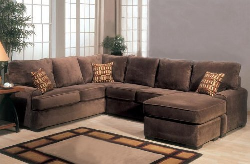 Sectional Sofa Couch Chaise With Block Feet In Chocolate Color