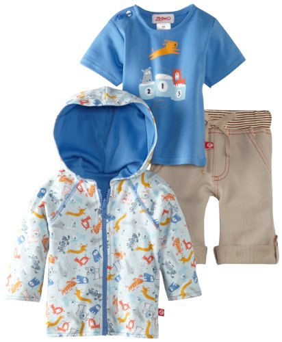 Review Zutano Baby-Boys Newborn Dog Walk Hoodie with Short Sleeve Tee and Boardwalk Pant Set, Multi, 6 Months  Review