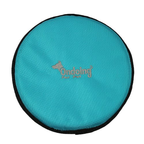 Durable Large Indestructible Oxford Fabric Natural Pet Dog Flyer Frisbee Flying Disc Toys Candy Blue Color Tr10035 front-981230