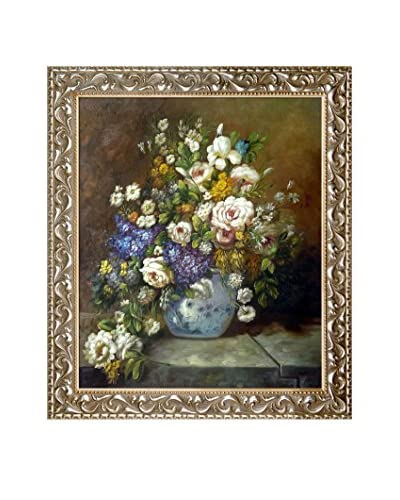 "Pierre-Auguste Renoir ""Grande Vase Di Fiori"" Framed Hand-Painted Reproduction"