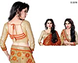 Anand Sarees 2-in-1 Pure Georgette Heavy Embroidery Work with Border BROWN & CREAM Colored Saree ( Both Side Wearable )