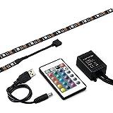 kwmobile rétroéclairage pour TV ruban USB RGB LED, 2x50cm, rétroéclairage entertainment en noir, bandes diodes LED autocollantes avec télécommande IR