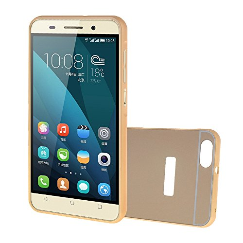 MEIRISHUN Phone Case Protective Cellulari Caso Case Duro Shell,Lusso Hard Metal Bumper Frame + TPU Back Case Copertura 2 in 1 Case per Huawei Honor 4X[Oro]