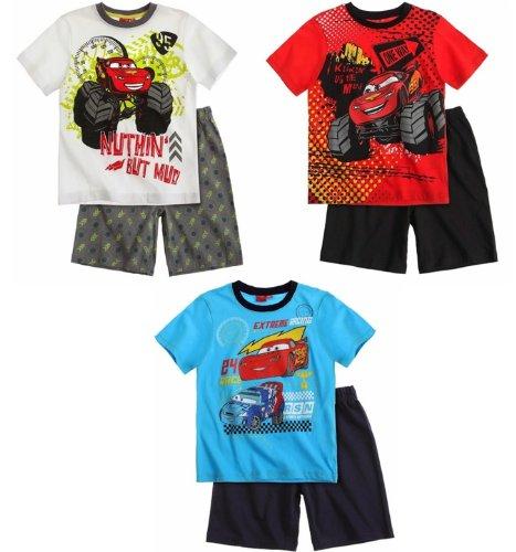 Disney Cars Schlafanzug 2014 Shorty 92 98 104 110 116 122 128 Jungen Shortie Pyjama Neu Sommer Lightning McQueen (98 - 104, Weiß-Grau)