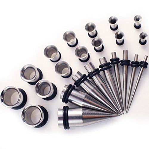 Gauge-Gear-28-teiliges-Ohredehner-Set-aus-Edelstahl-mit-Stahltunneln-und-Keilen-13-mm-10-mm