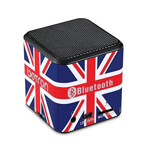 Betron MC500 Mini Altoparlante Bluetooth - Portatile Ricaricabile da Viaggio Wireless Nero - per iPhone iPod iPad Samsung (UK Bandiera)