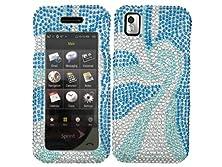 buy Swirl Blue Silver Bling Rhinestone Crystal Case Cover For Samsung Instinct 1 One Sph-M800