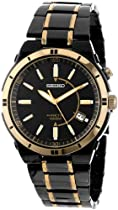 Hot Sale Seiko Men's SKA366 Kinetic Black Ion Watch