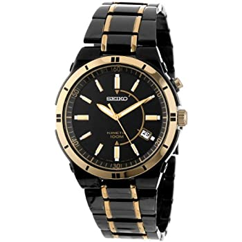 This Men's watch with Black Ion Finish and gleaming gold tone highlights makes for rich contrast in this Seiko watch. By the simple movement of your wrist, the rechargable battery charges itself. Once fully charged, it captures and stores energy up t...