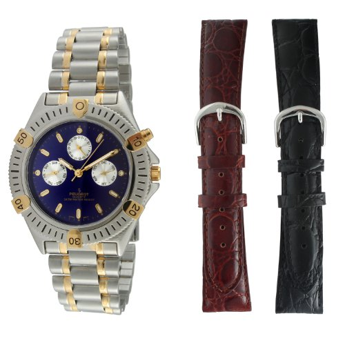 Peugeot Peugeot Men's 682 Multifunction Interchangeable Strap Watch Gift Set