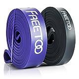 FREETOO フィットネスチューブ スーパーハード トレーニングチューブ レギュラータイプ 機器 男性 筋力トレーニング リフティング筋肉 ブラック&パープル 35ポンドから85ポンドまで