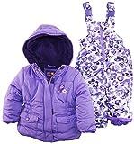 Pink Platinum Baby Girls Floral Camo Two Piece Snowsuit Set, Purple, 24 Months