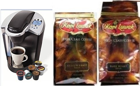 Multipacks Keurig B60 Special Edition System (w/ 12-pack of K-Cups) & Kopi Luwak Multi Pack Whole Bean High Class Coffee 1 Pack Medium Roast & 1 Pack Dark Roast Bean , Total 2 coffee Bag
