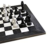 16 x 16 inch Unique Hand Carved Black & White Onyx Marble Chess Set - Including Complementary Velvet Case! (BW)
