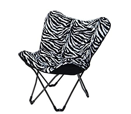 Junior Sized Tufted Butterfly Chair In Zebra Print