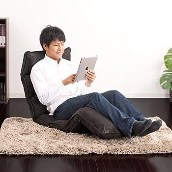 サンワダイレクト ゆったり長座椅子 フロアチェア 低反発ウレタン 14段階リクライニング 座椅子 ブラック 150-SNC085BK