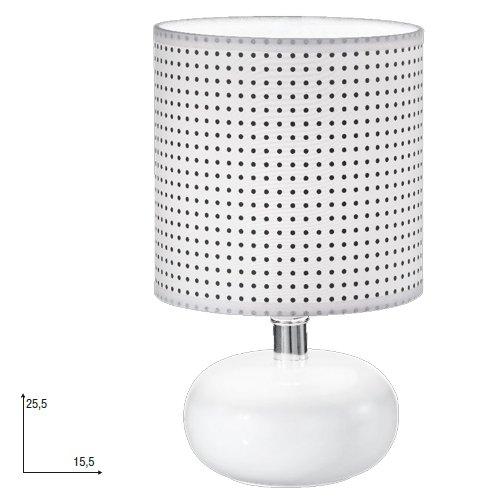 Lampada da tavolo moderno lume in ceramica bianco comodino 15x25