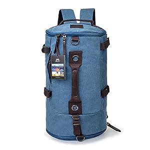 Vbiger Sac à Dos Portable en Bandoulière de Toile Unisexe Multifonctionnel pour Voyage Randonnée Camping (Bleu)