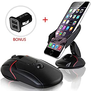 Car Mount, Yukiss® Easy One Touch Cell Phone Mount + Dual USB 2.1A Charger Bonus, Foldable Mobile Phone Car Mount and Smartphone Car Holder for iPhone 6s Plus 6s 5s Samsung Galaxy S7 Edge S6 S5 Note 5