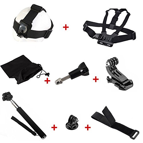 Ziefly edge For Go pro accessories 8 in1 kit Selfie Stick Handheld Monopod+Storage Bag+helmet use adapter+head strap+chest strap+wrist belt