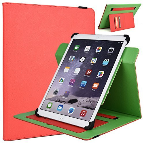 12 Inch Tablet Stand Cover Universal Fit For Acer Aspire Switch 11 V 11.6 Inch (Scarlet Red/Neon Green)