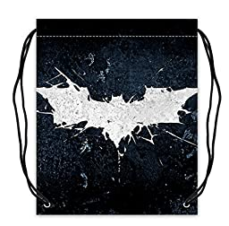 Basketball Drawstring Bags Polyester Fabric Tote Batman Logo Print.