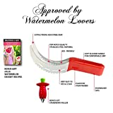 Watermelon Slicer, Corer & Server Knife, Tongs ★ AS SEEN ON TV ★ STAINLESS STEEL ★ 2 FREE BONUS - STRAWBERRY HULLER & EBOOK ★ PERFECT MELON CUTTER ★ KID-FRIENDLY ★BY 1ELEGANT