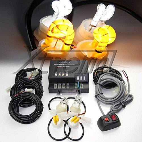 Xtreme® 120W 4 White & Yellow(Amber) Hid Bulbs Hide-A-Way Emergency Hazard Warning Strobe Lights