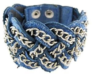 Blue Denim Braided Chain Wristband Western