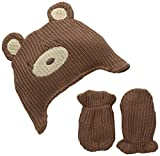 Lovespun Baby-Boys Infant Knit Bear Hat and Mittens