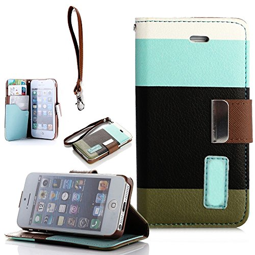 Mylife (Tm) Light Blue Color Blocked Design - Textured Koskin Faux Leather (Card And Id Holder + Magnetic Detachable Closing) Slim Wallet For Iphone 5/5S (5G) 5Th Generation Itouch Smartphone By Apple (External Rugged Synthetic Leather With Magnetic Clip