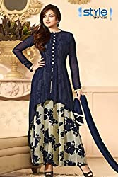 Style Amaze Presents Designer White & Blue Salwar Suit