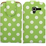 Polka Flip Case Cover Shell For Samsung Galaxy Ace 2 i8160 / White Polka Spots Dots Green
