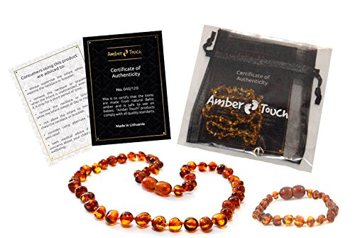 Bernsteinkette + Armband , Höchste Qualität Zertifiziert Authentische Baltischen Bernstein Halskette / Größe 33 cm / Schnelle Lieferung / 100 Tage Geld-Zurück-Garantie!