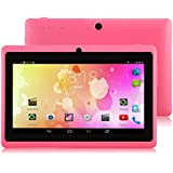 """IRULU X1a 7"""" Tablet - A33 Cortex-A7 1.5GHZ Quad Core System, Android 4.4 OS, 1024*600 Resolution with 5 Point Capacitive Touch, Dual Camera(Front 0.3MP/ Rear 2.0MP),512MB-RAM/8GB-ROM (Pink)"""