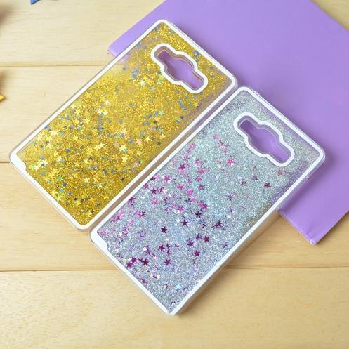 Samsung Galaxy J7- Liquid 3D Bling Glitter Star Cover Flowing Liquid With Glitter Star, Bling Hard Case Back Cover for Samsung Galaxy J7 (Golden) BY mobbysol