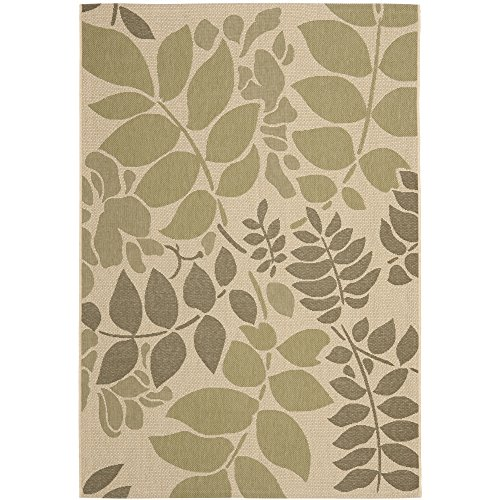Safavieh Courtyard Collection CY7015-14A7 Cream and Green Area Rug, 8 feet by 11 feet (8' x 11')