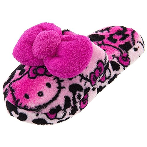 Hello Kitty Girls' Big Dark Pink Hair Bow Fuzzy Slippers 6 pcs cute resin animal hello kitty kids elastic hair bands baby headdress children hair ropes girls hair accessories