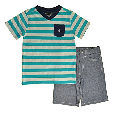 Calvin Klein Little Boys' Stripes V-Neck Tee with Denim Shorts 4-7, Blue, 5