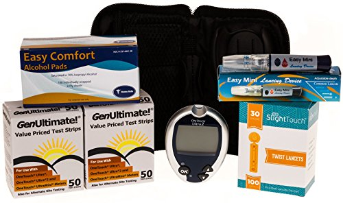 One Touch Ultra Diabetes Testing Kit - One Touch Ultra Meter, 100 GenUltimate Test Strips, 100 30g Lancets, 1 Lancing Device and 100 Alcohol Prep Pads