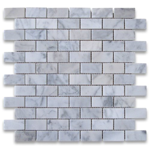 Carrara White Italian Carrera Marble Subway Brick Mosaic Tile 1 x 2 Polished