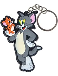 GCT Tom And Jerry Cartoon Synthetic / Rubber Keychain / Keyring / Key Ring / Key Chain (Grey/Brown/White)