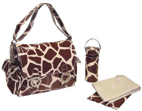 kalencom-sac-a-langer-tendance-double-boucle-motif-girafe-chocolat-creme